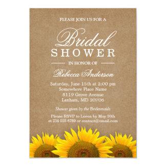 Bridal Shower Elegant Rustic Sunflower Linen Kraft Card