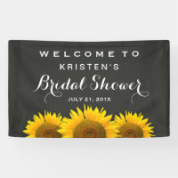 Bridal Shower Elegant Sunflower Chalkboard Welcome Banner