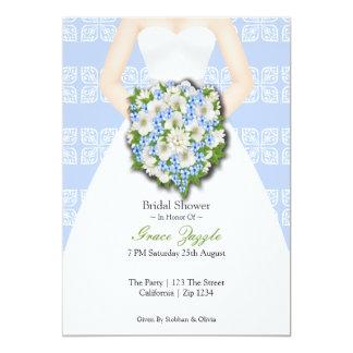 Bridal Shower Elegant Wedding Dress Blue Flowers Card