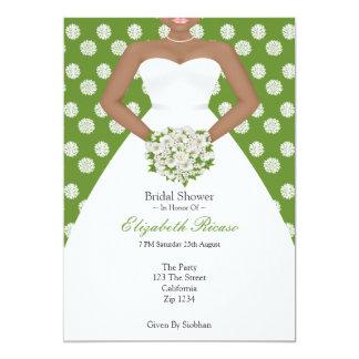 Bridal Shower Elegant Wedding Dress Green Flowers Card