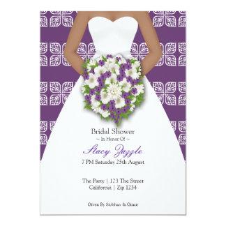 Bridal Shower Elegant Wedding Dress Purple Flowers Card