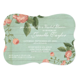Bridal Shower Elegant Wood Pretty Vintage Floral Card