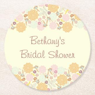 Bridal Shower Fancy Modern Floral Round Paper Coaster