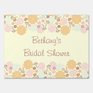 Bridal Shower Fancy Modern Floral Yard Sign