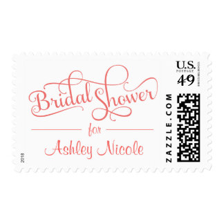 Bridal Shower Fancy Rustic Typography Postage Stamp