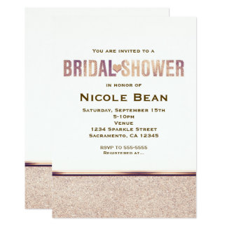 Bridal Shower Faux Rose Gold Champagne Invitation