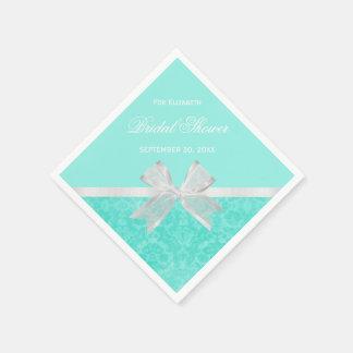 Bridal Shower Favor Chic Aqua Damask White Bow Napkin