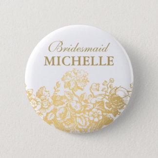 Bridal Shower Favor Floral Basket Gold Button