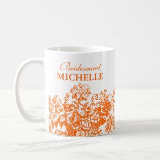 Bridal Shower Favor Floral Basket Orange Coffee Mugs