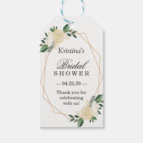Bridal Shower Favor Modern Gold Frame Green Floral Gift Tags