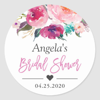 Bridal Shower Favor Modern Watercolor Floral Classic Round Sticker