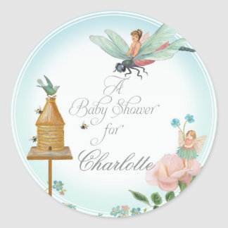 Bridal Shower Favor Seals Flower Fairies Dragonfly
