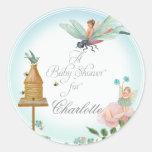 Bridal Shower Favor Seals Flower Fairies Dragonfly Classic Round Sticker