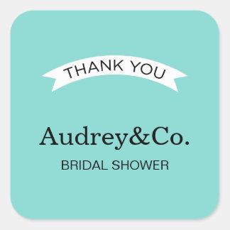 Bridal Shower Favor Sticker | Aqua Blue