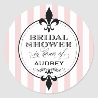 Bridal Shower Favor Sticker | Fleur de Lis Design