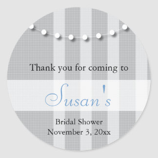 Bridal Shower Favor Sticker - Gray and Blue
