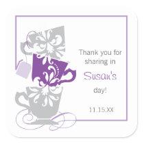 Bridal Shower Favor Sticker - Tea