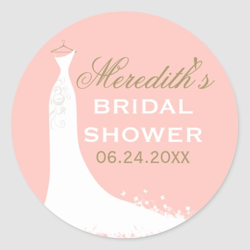Bridal Shower Favor Sticker Wedding Gown