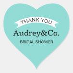 Bridal Shower Favor Stickers   Aqua Blue