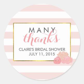 Bridal Shower Favor Stickers   Pink Stripe & Peony