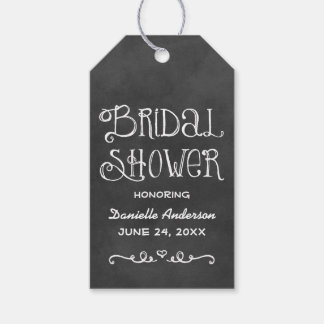 Bridal Shower Favor Tag | Black Chalkboard Charm Pack Of Gift Tags