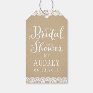 Bridal Shower Favor Tag | Lace and Kraft Pack Of Gift Tags