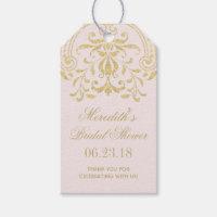 Bridal Shower Favor Tags | Gold Vintage Glamour