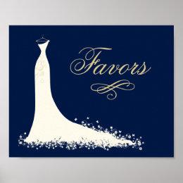 Bridal Shower Favors Sign   Elegant Wedding Gown