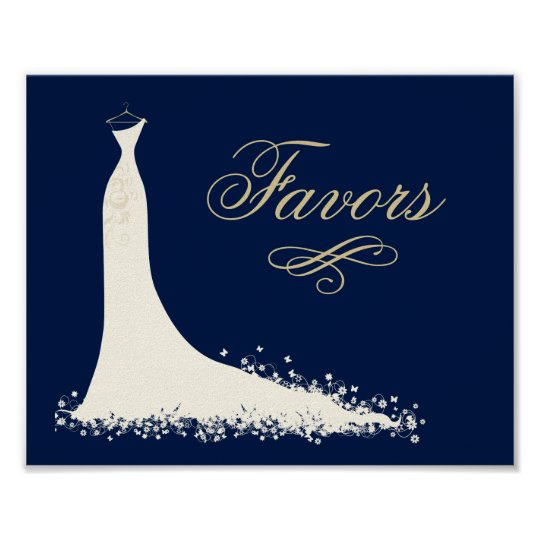 bridal shower favors sign elegant wedding gown