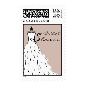 Bridal Shower Feather Wedding Dress - Custom color Postage Stamp