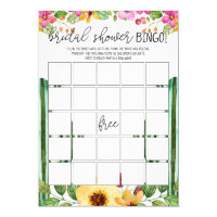 Bridal Shower Fiesta Bingo Game Card