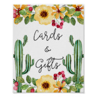 Bridal Shower Fiesta Cards and Gifts Sign