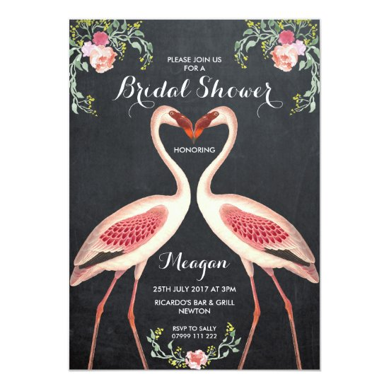 Bridal Shower flamingo invitation chalkboard