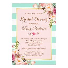 Bridal Shower Floral Baby Pink Mint Green Stripes Card