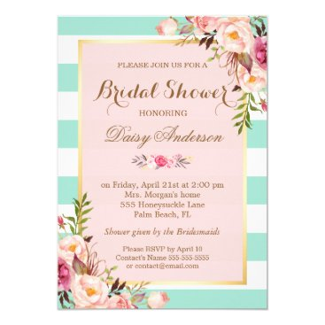 Toddler & Baby themed Bridal Shower Floral Baby Pink Mint Green Stripes Card