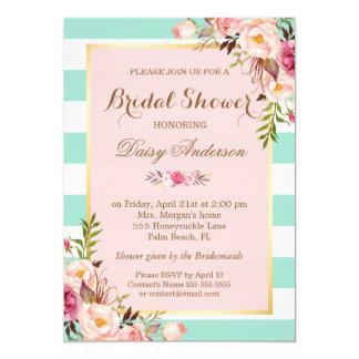 Bridal Shower Floral Baby Pink Mint Green Stripes Invitation