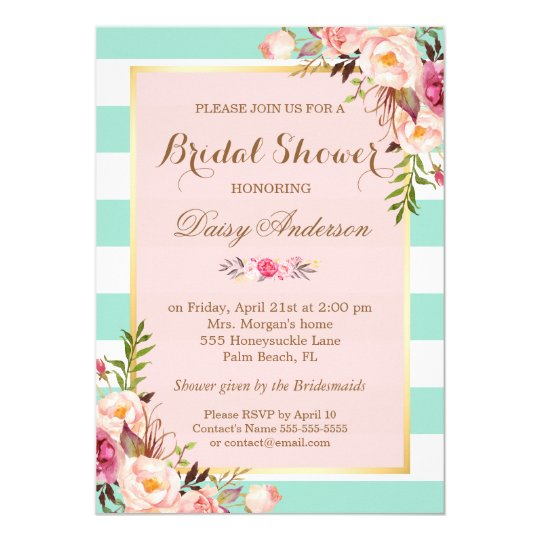 Bridal Shower Floral Baby Pink Mint Green Stripes Invitation