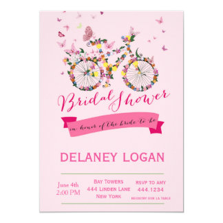Bridal Shower Floral Bicycle Invitation