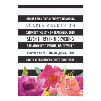 Bridal Shower Floral Black & White Stripes Card
