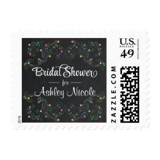 Bridal Shower Floral Chalkboard Postage