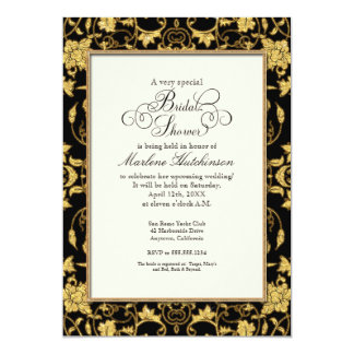 Bridal Shower Floral Damask Glitter Formal Wedding Card