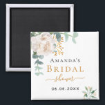 """Bridal Shower floral eucalyptus greenery favor Magnet<br><div class=""""desc"""">A chic white background. Decorated with a white floral, flower (peony)and green watercolored eucalyptus leaves, sprigs, greenery and a faux gold sprig. Personalize and add the name of the bride to be and a date. Black and golden letters. Perfect as a keepsake, party favor or as a save the date...</div>"""