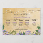"""Bridal Shower Floral Itinerary Bachelorette Invite<br><div class=""""desc"""">Bachelorette Shower Itinerary - Front and back included. Change the schedule,  time,  text to suit your party!</div>"""