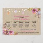Bridal Shower Floral Jars Itinerary Bachelorette Invitation