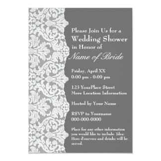 Bridal Shower: Floral Lace Pattern and gray 5x7 Paper Invitation Card