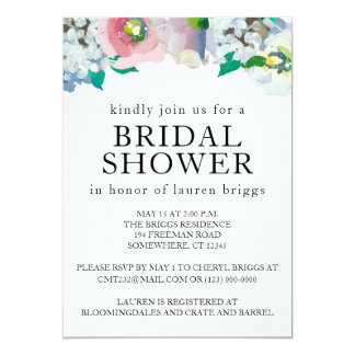 Bridal Shower Floral Pastel Watercolor Invitation