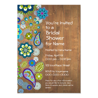 Bridal Shower - Floral Pattern with Rustic Wood 5x7 Paper Invitation Card