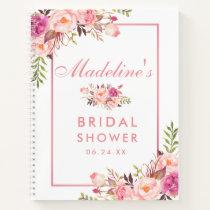 Bridal Shower Floral Pink Blush Gift List Notebook