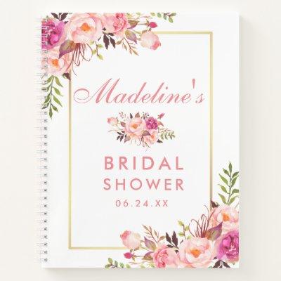 Bridal Shower Floral Pink Blush Gold Gift List Notebook