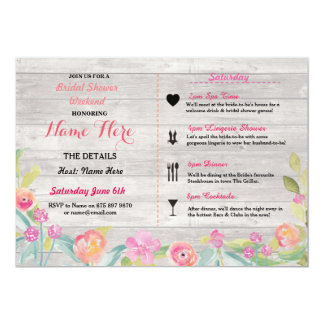 Bridal Shower Floral Pink Itinerary Invite